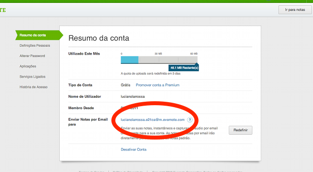 email do Evernote