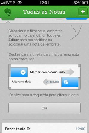 lembretes do Evernote no iPhone