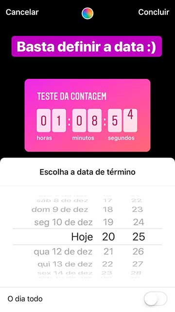 como usar contador regressivo no stories data