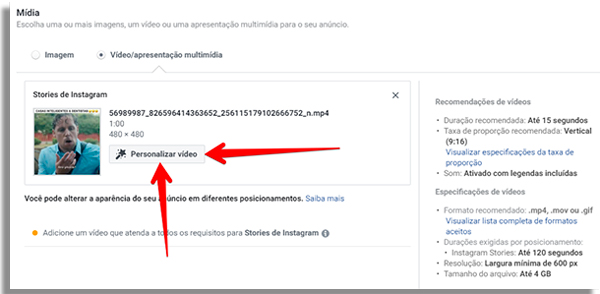personalize seus video ads dentro do gerenciador